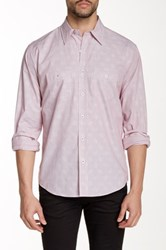 Lorenzo Uomo Spread Collar Modern Fit Printed Shirt Red