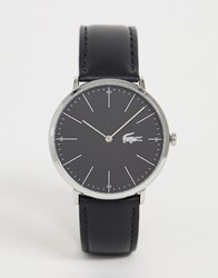 Lacoste Moon Leather Watch In Black