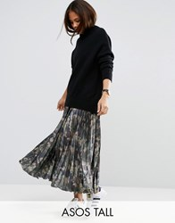 Asos Tall Pleated Skirt In Satin With Camo Print Multi
