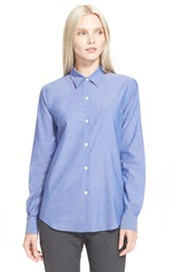 Theory 'Perfect' Cotton Shirt Indigo