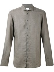 Armani Collezioni Casual Linen Shirt Men Linen Flax S Green