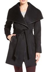 Elie Tahari Women's Whipstitch Wool Blend Wrap Coat Black