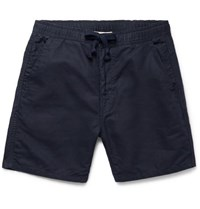 Remi Relief Slim Fit Cotton And Linen Blend Drawstring Shorts Navy