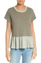 The Great Women's Great. Ruffle Tee Two Tone Army