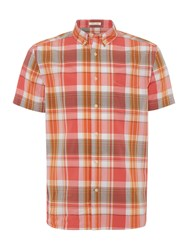 Howick Men's Sandino Check Short Sleeve Shirt Orange