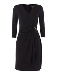 Episode Long Sleeve Sparkle Wrap Dress With Hardwear Black