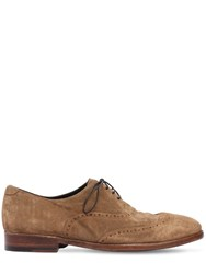 Alberto Fasciani Washed Suede Oxford Lace Up Shoes Brown