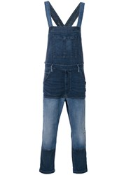 Diesel Patched Denim Dungarees Men Cotton Polyester Spandex Elastane Xs Blue