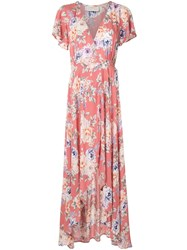 Auguste Pascal Muse Rose Print Wrap Dress Pink