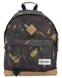 Eastpak Camouflage Wyoming Backpack With Leather Details Khaki