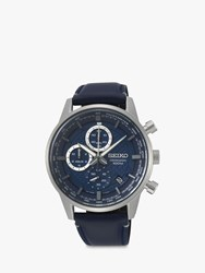 Seiko Ssb333p1 'S Chronograph Date Leather Strap Watch Navy