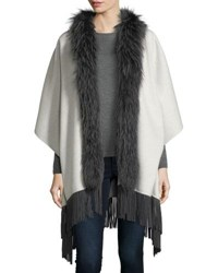 Neiman Marcus Luxury Double Faced Cashmere Shawl W Fox Fur Collar And Suede Fringe Hem Platinum Grey