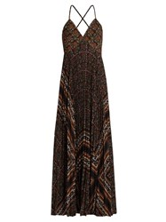 A.L.C. Katia Scarf Print Pleated Dress Brown Multi