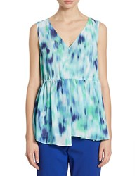 Ellen Tracy Space Dye V Neck Top Blue