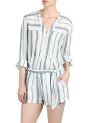 Paige Raleigh Striped Cotton Romper White Blue Shadow