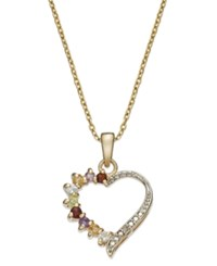 Victoria Townsend 18K Gold Over Sterling Silver Necklace Multi Stone 3 8 Ct. T.W. And Diamond Accent Open Heart Pendant