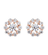 Carat Flora Rose Gold Stud Earrings Female White Gold