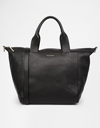 Whistles Jenny Leather Zip Top Tote Bag Black