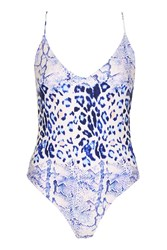 Topshop Snake And Leopard Print Swimsuit Blue