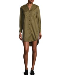 Rag And Bone Mason Long Sleeve Shirt Dress Olive