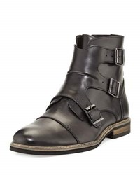 English Laundry Milo Leather Buckle Bootie Black