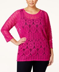 Alfani Plus Size Dolman Sleeve Lace Top Only At Macy's Modern Orchid