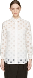 Burberry White Sheer Polka Dot Blouse