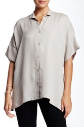 Biya Split Collar Short Sleeve Blouse Gray
