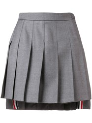 Thom Browne Pleated Mini Skirt Grey