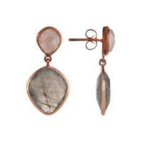John Lewis Semi Precious Stone Drop Earrings Rose Quartz Labradorite