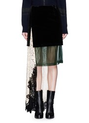 Toga Archives Velvet Floral Lace Asymmetric Layer Skirt Black