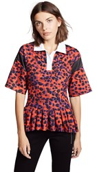 Koche Pleated Polo Shirt Red Leopard