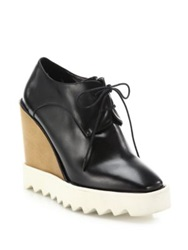 Stella Mccartney Wood And Rubber Platform Faux Leather Wedge Oxfords Black