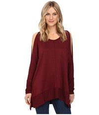 Culture Phit Andreea Top With Side Slits Burgundy Women's Clothing