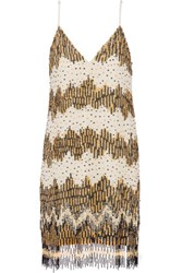 Alice Olivia Lyle Embellished Chiffon Mini Dress Cream
