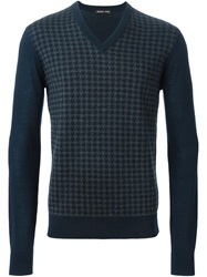 Michael Kors Houndstooth Sweater Blue