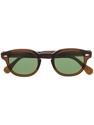 Moscot Round Frame Sunglasses Brown
