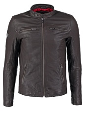 Superdry Real Hero Leather Jacket Brown Dark Brown