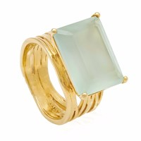 Neola Pietra Gold Cocktail Ring With Aqua Chalcedony