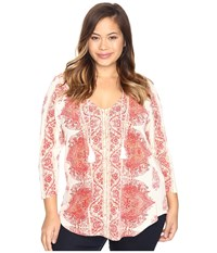 Lucky Brand Plus Size Placed Print Top Red Multi Women's Clothing