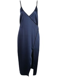 Fleur Du Mal Piped Midi Dress Blue