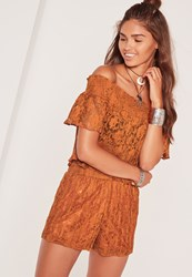 Missguided High Waisted Pleated Lace Shorts Orange Brown