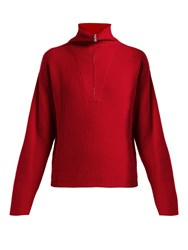 Allude Half Zip Ribbed Cashmere Sweater Red
