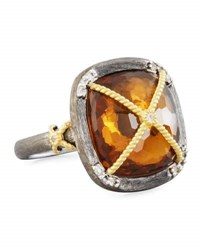 Jude Frances Wrapped Citrine And Topaz Cushion Cocktail Ring Size 6.5