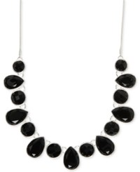 Nine West Multiple Faceted Stone Collar Necklace Black
