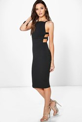 Boohoo Square Neck Strap Waist Midi Dress Black