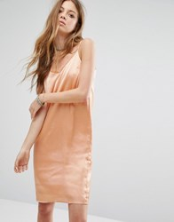 Noisy May Lace Insert Cami Dress Dusty Coral Pink