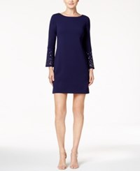 Jessica Howard Petite Grommet Sleeve Sheath Dress Navy