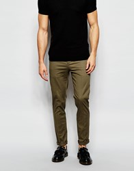 Asos Skinny Chinos With Pleat In Khaki