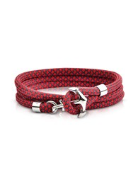 Forzieri Men's Bracelets Red Black Rope Triple Bracelet W Anchor